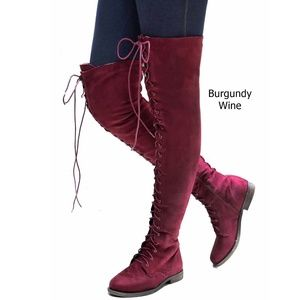 New Wine Over the Knee Suede Lace Up Combat Boots